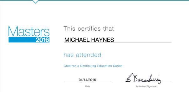 Crestron Masters 2016 Certificate